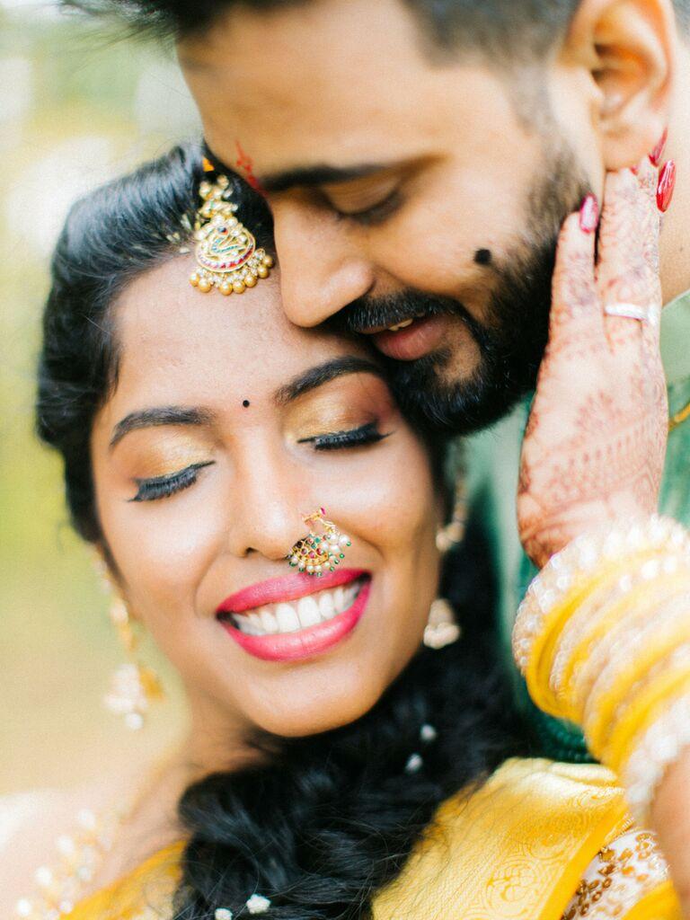 wedding makeup trial couple hugging close up on bride