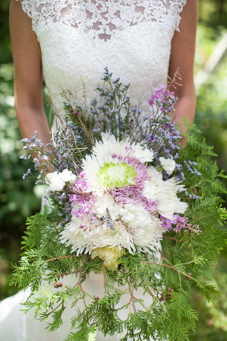 Purple and White Bouquet With Mums and Lavender
