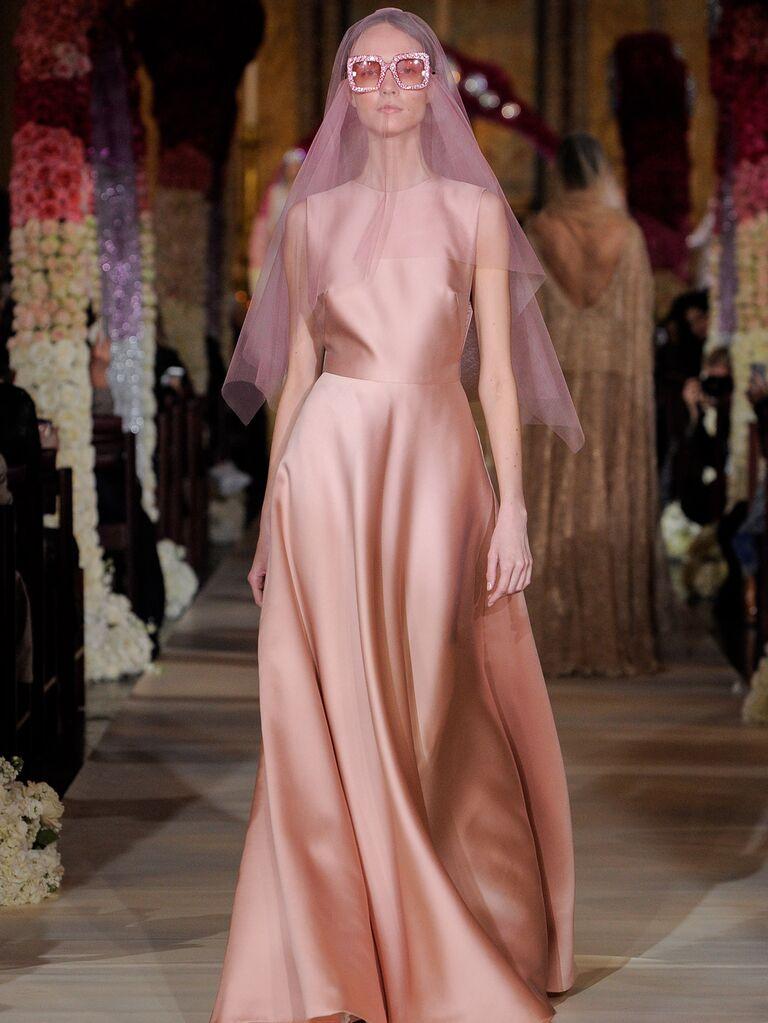 Reem Acra Spring 2020 Bridal Collection blush A-line wedding dress with purple veil
