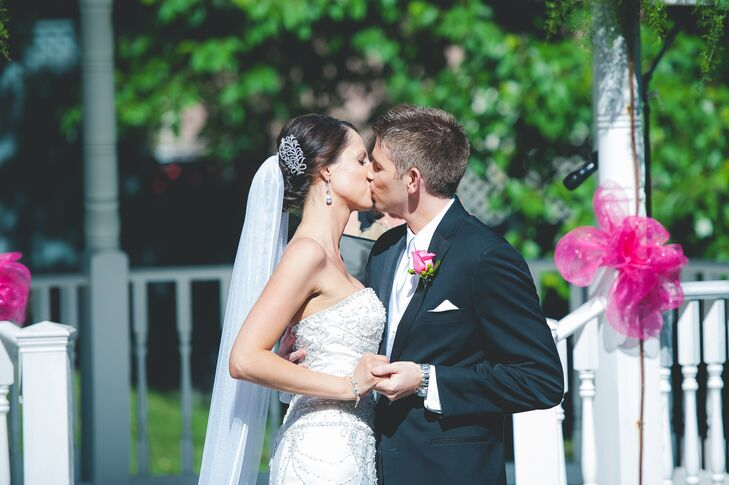 The couple shared their first kiss together at their outside ceremony at the Holland Gardens venue.