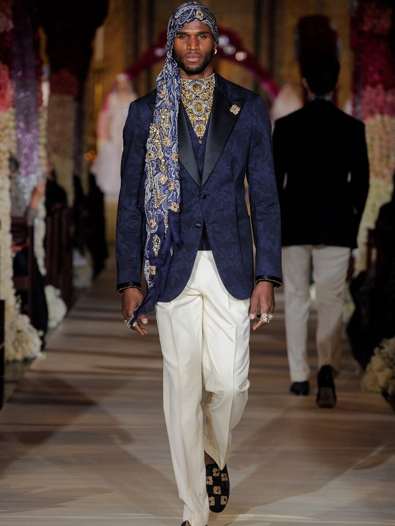 Joseph Abboud menswear groom look with navy jacquard jacket