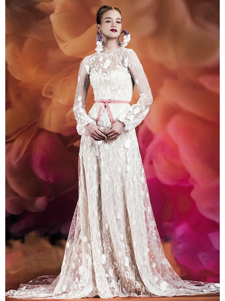 Naeem Khan wedding dress long-sleeve a-line gown with long sleeves