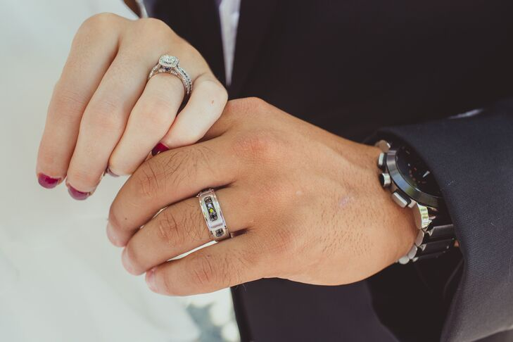 Couple Engagement And Wedding Rings