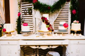Shabby-Chic Display of Five Wedding Cakes