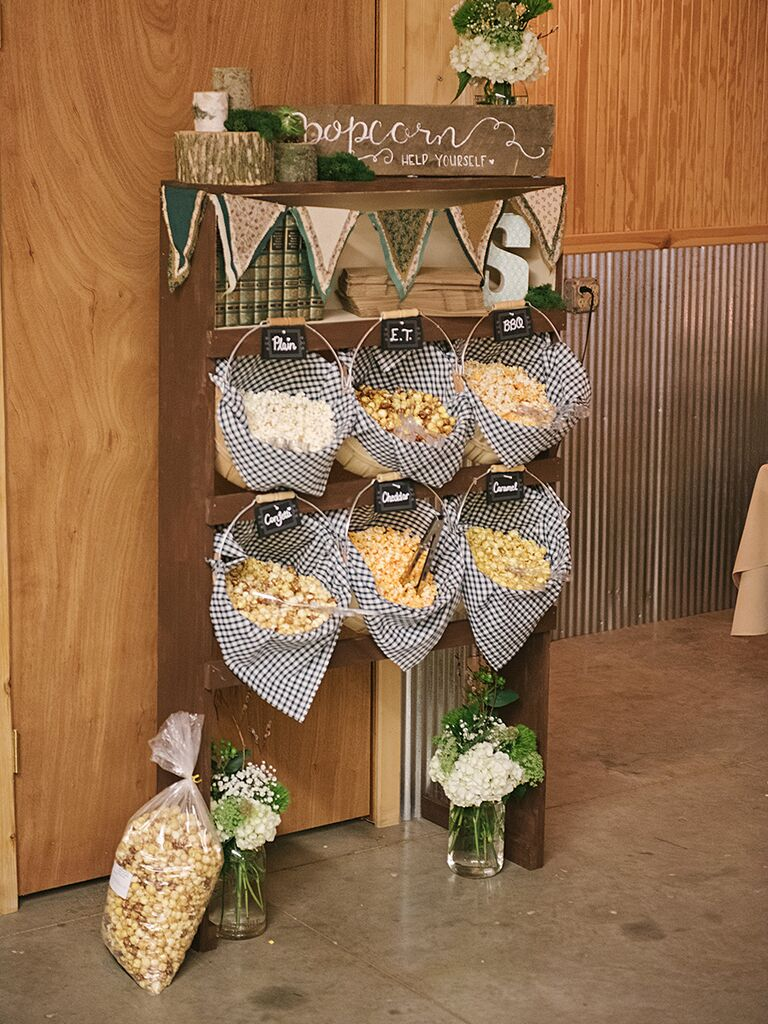Popcorn bar for a creative wedding reception menu idea