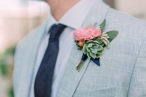 Ranunculus and Succulent Boutonniere