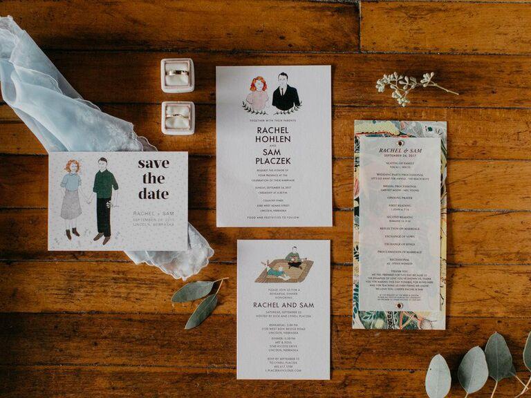 how important are wedding invitations custom couple illustration