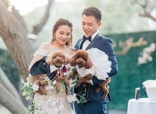 Delia and Gordon's romantic wedding at Calamigos Ranch in Malibu, California, was filled with elegant details, a dreamy blush-and-ivory color palette,