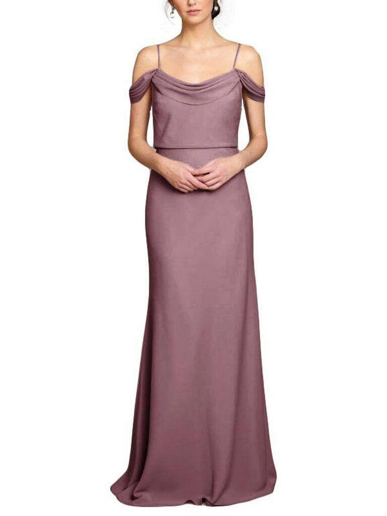 Long mauve bridesmaid dress
