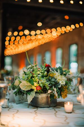 Colorful Summery Dahlia Stock and Greenery Centerpieces