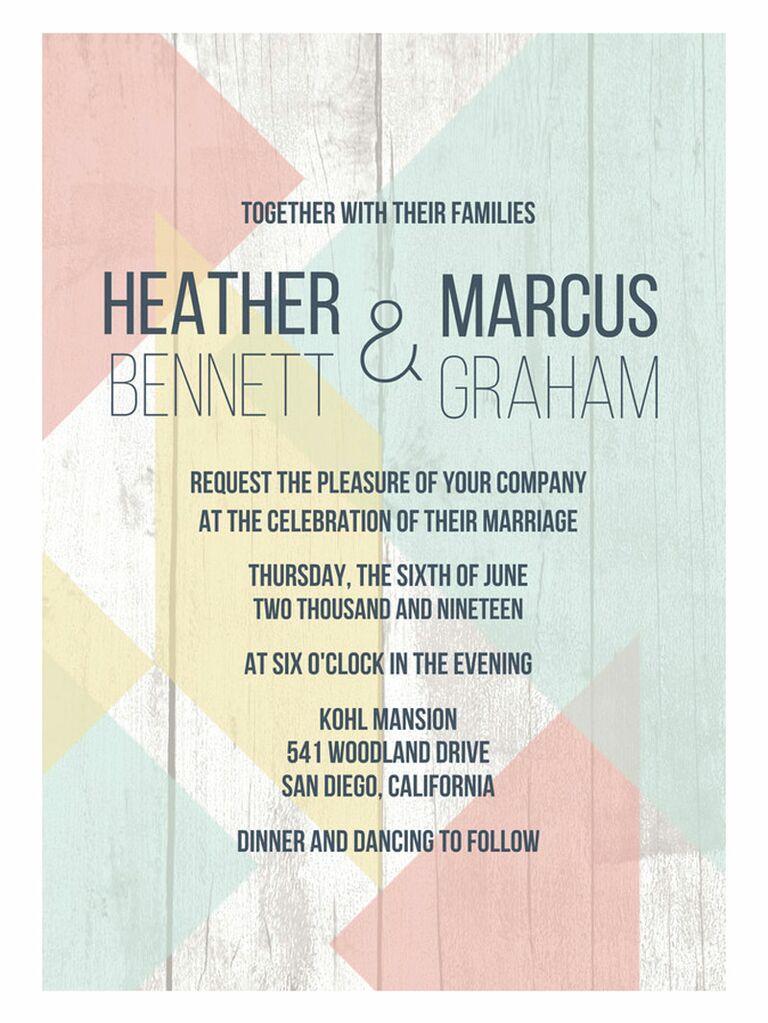 Mixbook geometric pastel spring wedding invitation