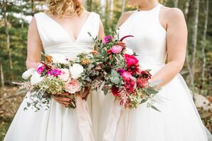 Pink Bouquets with Garden Roses and Greenery