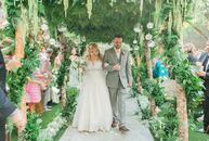 Ashley Levin and Johnathan Crain's wedding was a vintage-inspired affair with a whimsical fairytale theme. The Birchwood Room at the Calamigos Ranch i