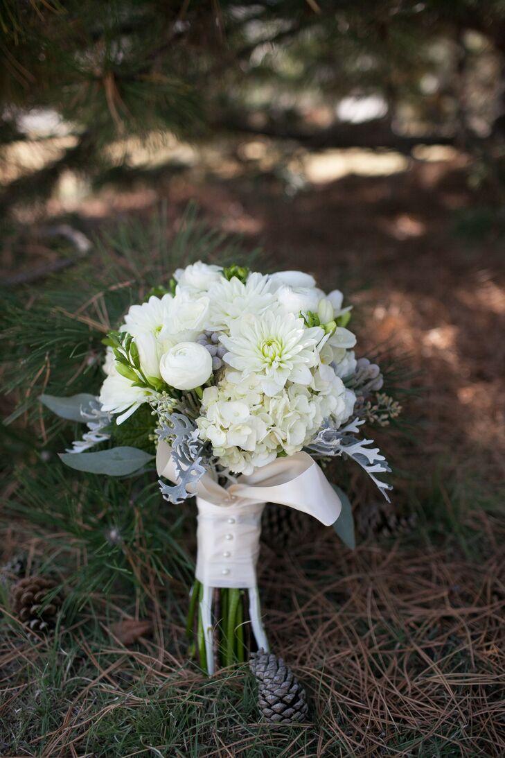 White Bridal Bouquet With Dusty Miller In Hays Kansas