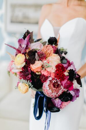Bold Protea, Scabiosa, Celosia, Orchid and Rose Bouquet Tied with Blue Ribbon