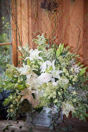 Ivory and Green Lush Flower Arrangement