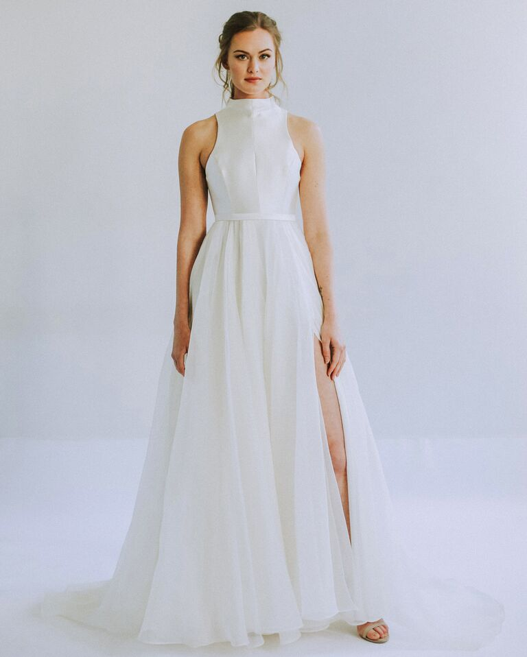 Leanne Marshall sexy wedding dress with slit