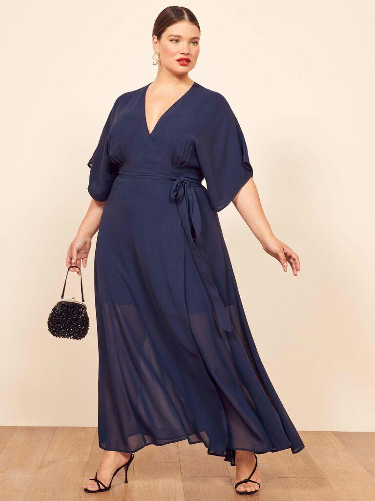 navy blue long wrap dress with kimono sleeves