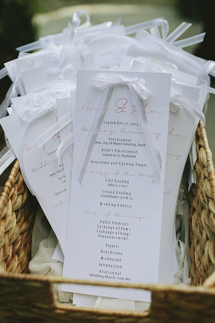 Amy created her own programs and printed everything on an off-white card stock. Small bows at the top added interest.