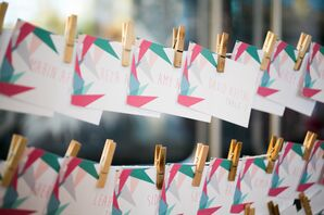 Modern Turquoise and Pink Escort Cards