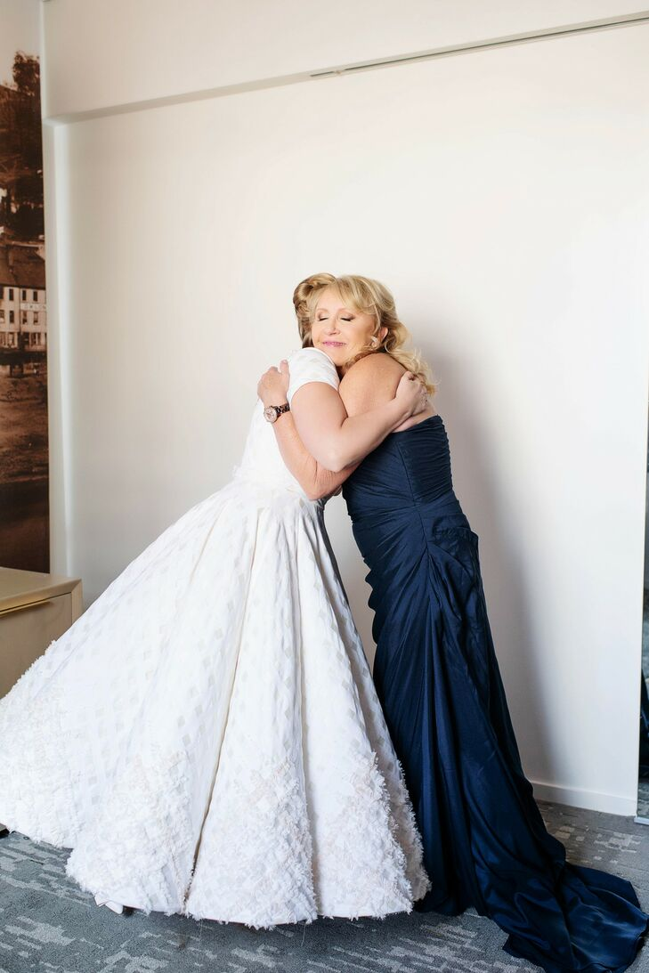 Vintage Ankle-Length Wedding Dress and Navy Mother-of-the-Bride Dress
