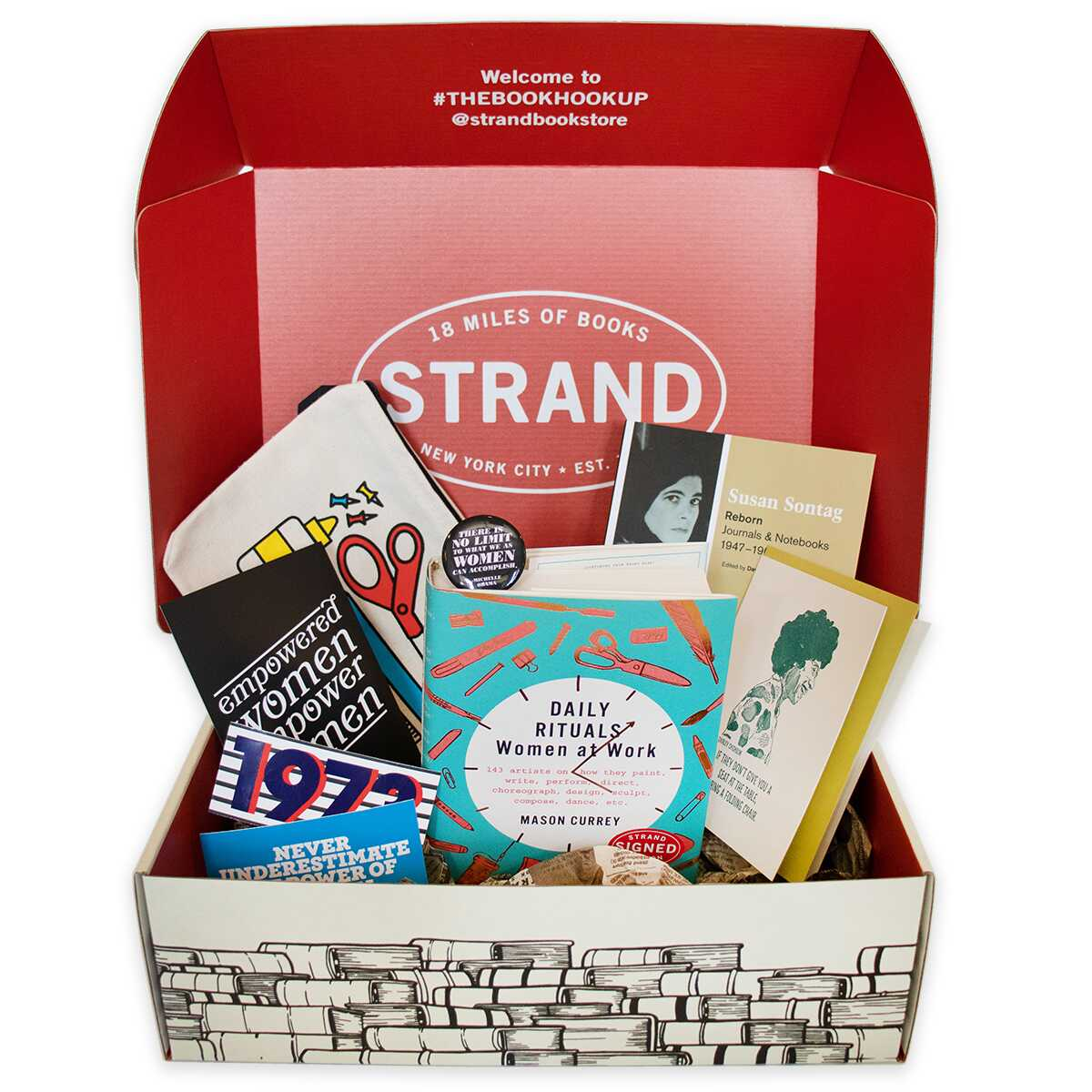 Gift box filled with book-related mother's day gifts
