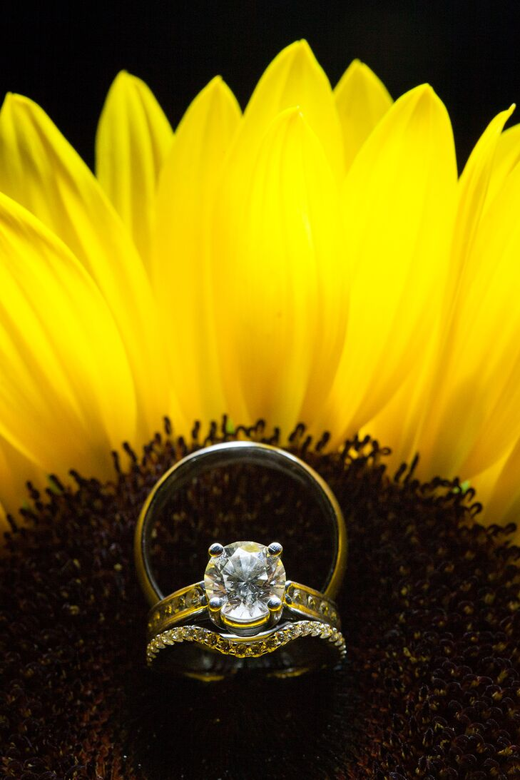 Engagement and Wedding Rings on Sunflower in Austin, Texas