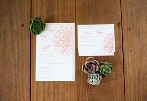Contemporary Coral Flower Stationery Suite