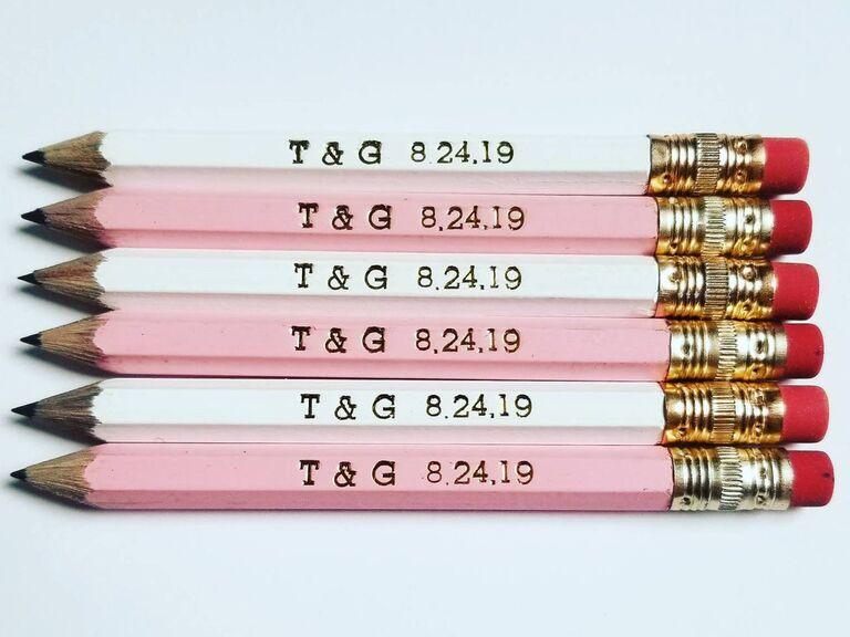 Engraved pencils cheap wedding favor idea