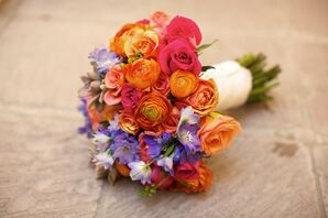 Burnt Orange Ranunculus and Rose Bouquet