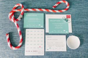 Beach-Inspired Ivory and Mint Invitation Suite