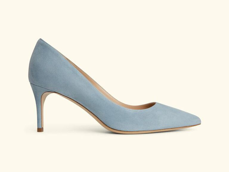 Blue comfortable wedding heels for bride