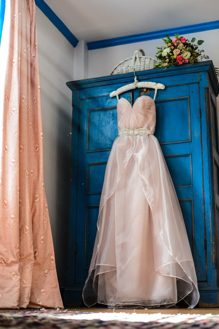 """""""I absolutely shocked myself by settling on a pink Sarah Seven wedding dress,"""" says Brianna. """"Something about the soft blush tone just felt more like myself as opposed to the whites and ivories I had seen."""""""