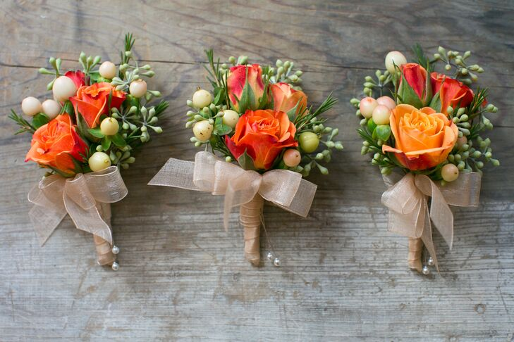 Orange Rose and Pale Berry Boutonnieres