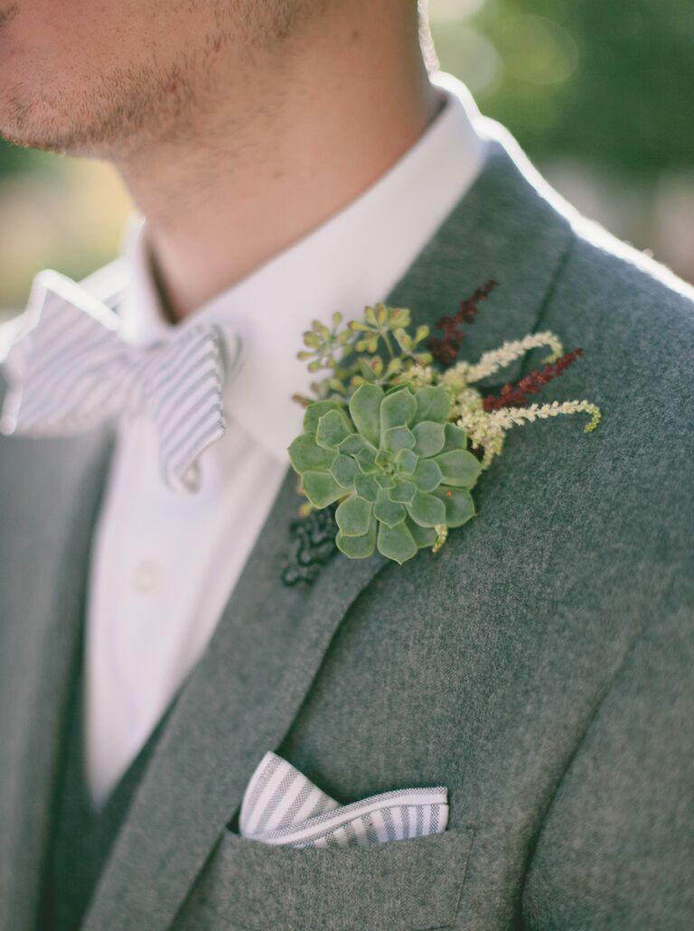 Echeveria succulent groom's boutonniere