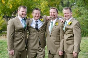 Taupe Groomsmen Suits with Teal Ties