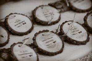 DIY Rustic Wooden Round Escort Cards