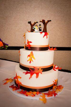 Fall-Inspired Orange, Brown and White Fondant Cake