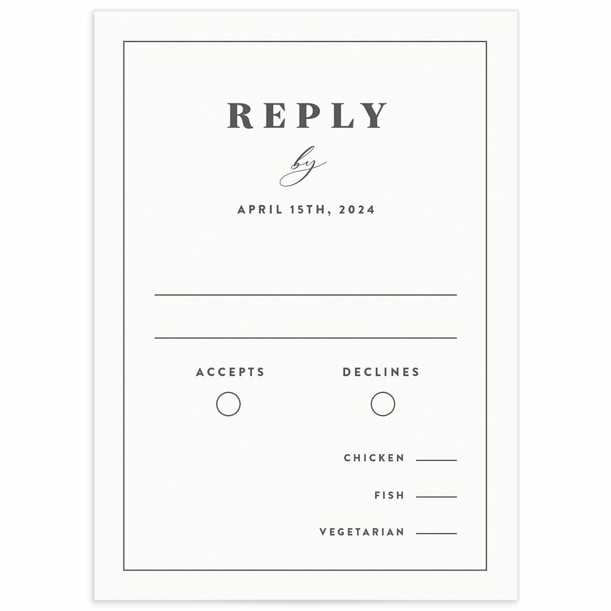 A Wedding Response Card from the Retro Botanical Collection