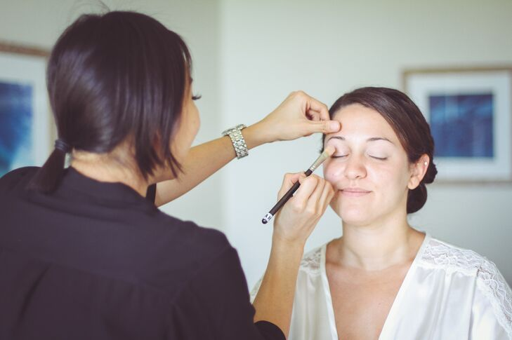 Bride's On-Site Makeup and Updo in Haleiwa, Hawaii