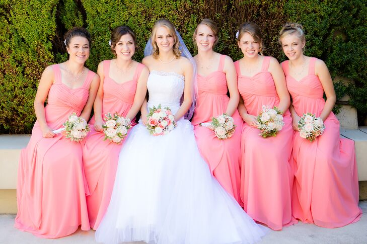 Micaela with Bridesmaids in Coral Dresses