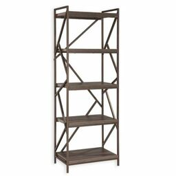 intercon furniture lifestyles studio living 5tier metal bookcase in dark grey