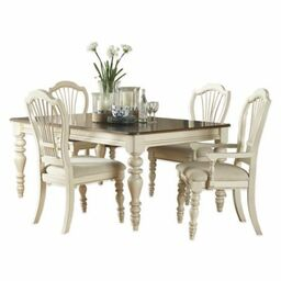 Hillsdale Pine Island 5 Piece Dining Set With Wheat Back Chairs In Old White