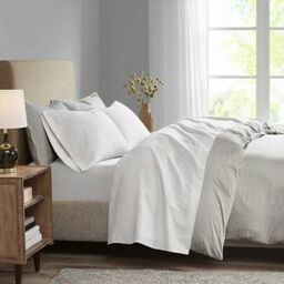 madison park 3m microcell california king sheet set in white