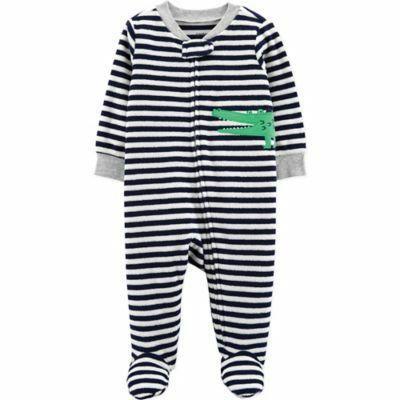 379fc685f carter's® Newborn Alligator Terry Striped Sleep & Play in Black/White