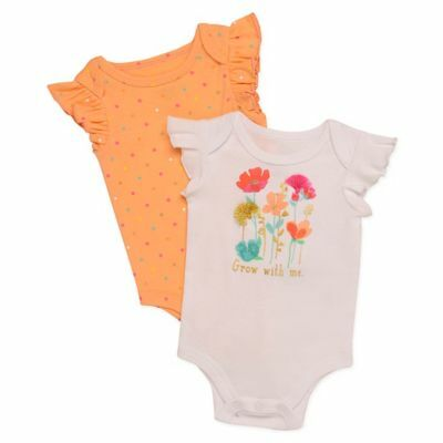 b0392bfba Baby Starters® Size 3M 2-Pack Flowers Bodysuits in White/Orange