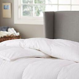 pinzon white goose down feather comforter 100 cotton cover medium warmth