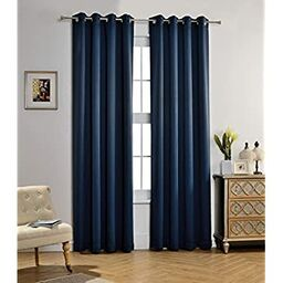 mysky home solid grommet top thermal insulated window blackout curtains 52 x 84 inch