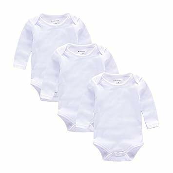 338eba684 Baby Body suit 3pcs Long Sleeve Newborn Mom Unisex Pajamas White Bodysuit (0-3)