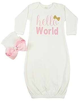 Posh Peanut Hello World Infant Baby Gown Layette Soft Sleeper Newborn Girl s  Soft Beanie Girl Outfit White Gold d19155dc2